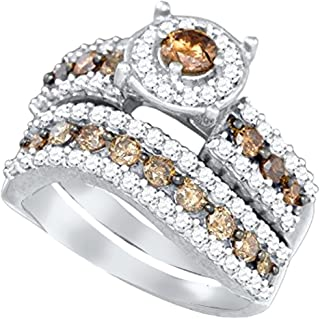 Brandy Diamond Chocolate Brown 10k White Gold Eternity Halo Bridal Wedding Engagement Ring Band Set 1-3/4 Ctw.