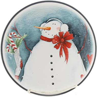 """Tabletop Snowman Plates, 7.25"""", Ceramic, Dishwasher Microwave Safe, Decorative Platters, 2020170362 Candy Can"""