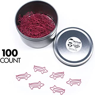 Butler in the Home Pig Shaped Paper Clips Great For Paper Clip Collectors or Office Gift - Comes in Round Tin with Lid and Gift Box (Pink)