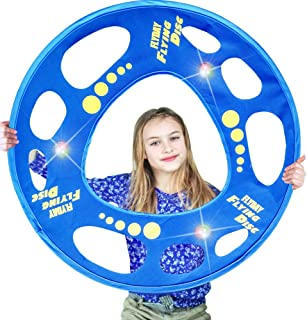 FLYDAY Flying Disc Soft for Kids Fly Straight Glows in The Dark for Night Games Beach, Lawn, Backyard, Park or Camping Games Flying Rings for Family Great Gift for Birthday