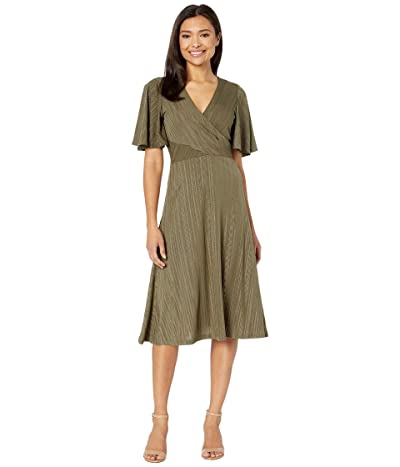 Calvin Klein Flutter Sleeve Midi Dress with Embellishments (Caper/Gold) Women
