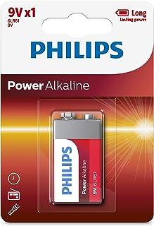 PHILIPS 6LR61P1B/97, Blister Pack Power Alkaline Battery 9V, Red