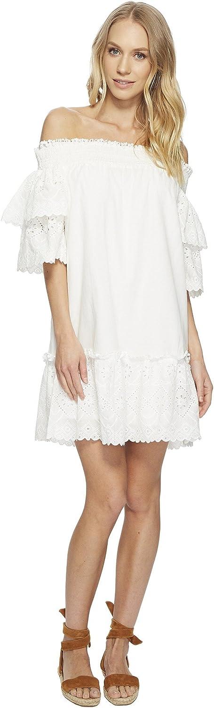 JOA Women's Smocked Off The Shoulder Ruffle LACE Mini Dress, White Eyelet, S
