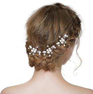 BriLove Wedding Bridal Hair Pin Set for Women Crystal Simulated Pearl Marquise-Shape Leaf Hair Pins Clear Silver-Tone