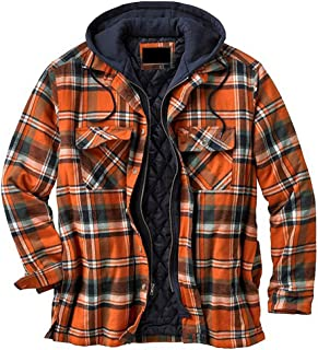 GuoCu Mens Hooded Plaid Print Thick Padded Jacket Winter Warm Jacket Coat Tops Long Sleeve Quilted Lined Check Shirt Jacke...