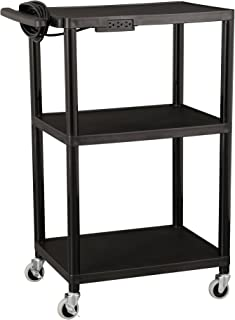 Norwood Commercial Furniture Adjustable-Height Mobile Black Plastic Utility AV Cart with Power Strip, NOR-OUG1042-SO