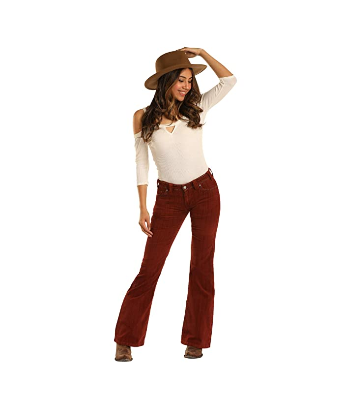 Rock and Roll Cowgirl Mid-Rise Flare in Rust W1F3447 (Rust) Women's Jeans