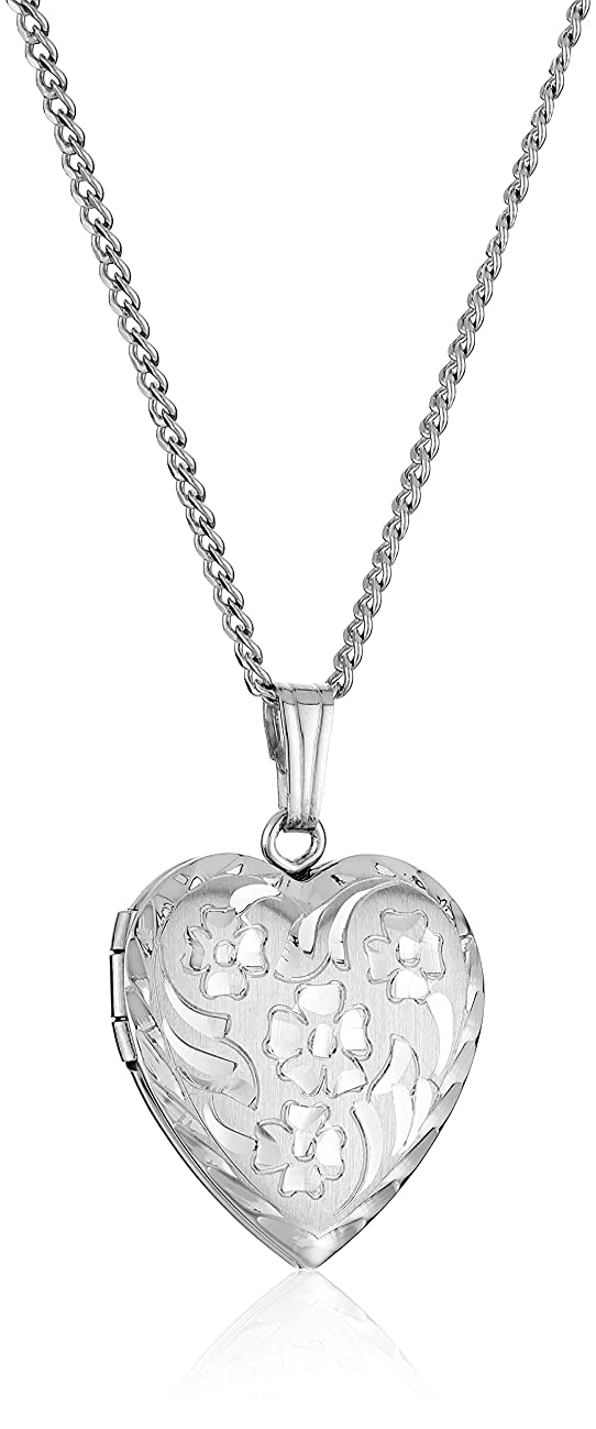 Sterling Silver Engraved Flowers Heart Locket Necklace, 18