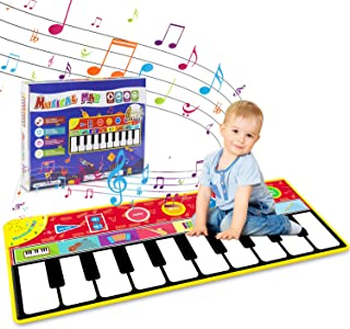 Tencoz Kids Piano Musical Mat, 10 Keys Piano Keyboard Play Mat, Electronic Dance Mats with Record, Playback, Demo, Play, Educational Toys for Boys Girls, 58.26 x 23.62 inches