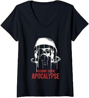Femme Netflix Daybreak Gas Mask Welcome To The Apocalypse T-Shirt avec Col en V