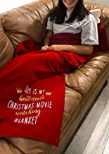 HAINANBOY This is My Hallmark Christmas Movie Watching Blanket Hooded Blanket Wearable Blanket with Hood Fleece Lined Throw Blankets Hooded Blanket for Adult Women Kids Girls Child
