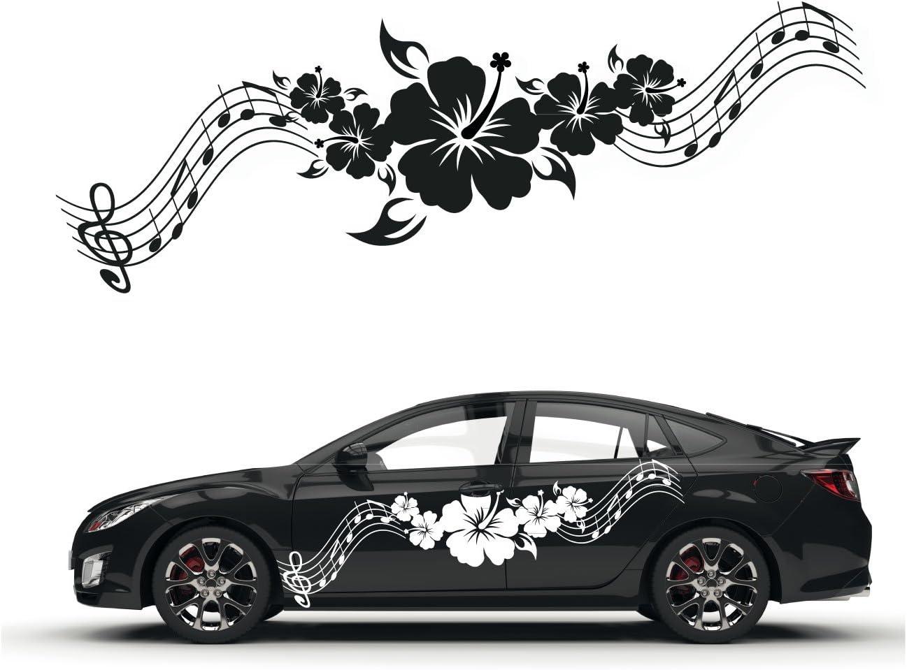 Hibiskus Noten Tribal Aufkleber Für Das Fahrzeug Florale Designs Autotattoo Blumen Blüten Sticker Kb261 Auto