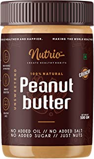 Nutrio 100% Natural Peanut Butter Unsweetened 500gm (Crunchy) || Made with 100% Roasted Peanuts | No Added Sugar | No Adde...