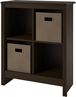 Ameriwood Home Altra 4-Cube Storage Cubby Bookcase with 2 Storage Bins, Resort Cherry Finish