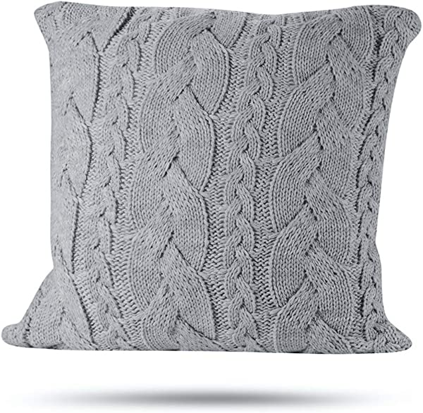 Hivexagon Cotton Knitted Decorative Pillow Case Cushion Cover For Couch Bed Room Sofa Decor 18 X 18 Light Gray