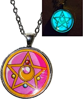 Sailor Moon star compact image - GLOW IN THE DARK - pendant necklace - HM