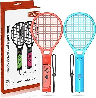 GH 薄いグリップ スイッチラケット ! 大型サイズ マリオテニス エースラケット 任天堂 Switch Joy Con に対応 2個 セット(赤1+青1)