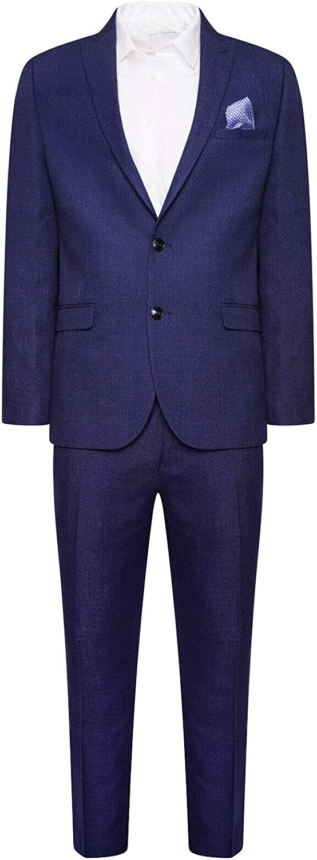 HARRY BROWN Slim Fit Two Piece Suit in Navy Melange 36 to 48