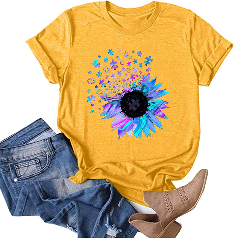 Summer Tops for Women,Womens T Shirts Cute Summer Shirt Funny Short Sleeve Graphic Tee Tops for Women
