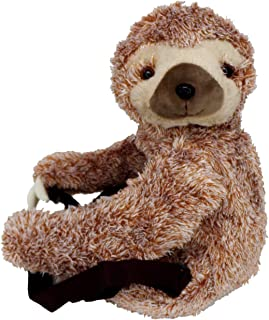 Plush Stuffed Animal Sloth Backpack with Zippered Closure and Fabric Liner, 19 Inch