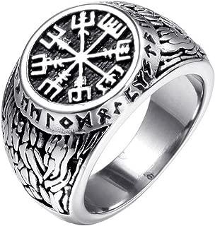 Titansten Mens Stainless Steel Vegvisir Viking Compass Rune Geometric Pattern Emboss Design Ring