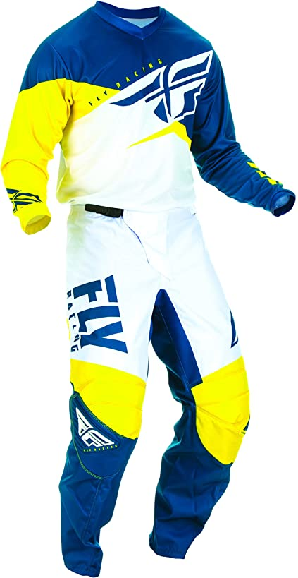 Fly Racing - 2019 F-16 (Mens Yellow & White & Navy Medium/30W) MX Riding Gear Combo Set, Motocross Off-Road Dirt Bike Light Weight Durable Jersey & Mesh Comfort Liner Stretch Pre Shaped Knees Pant