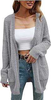 Générique Femmes Cardigan Gilet Long Pull Manches Longues Décontracté Tricoté Sweaters Chaud Hiver avec Poches Ouver bouto...