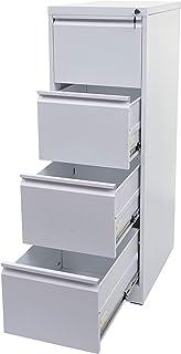 Mendler Armoire à dossiers Suspendus HWC-H16, Armoire de Bureau, Format légal verrouillable 134x46x62cm - Blanc