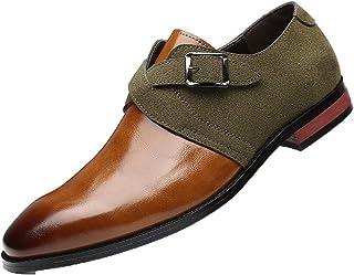 Zapatos de Vestir para Hombre, de Ante, retales, de Piel, de Corte bajo, con Hebilla, Correa, Transpirable, Elegante, Zapa...