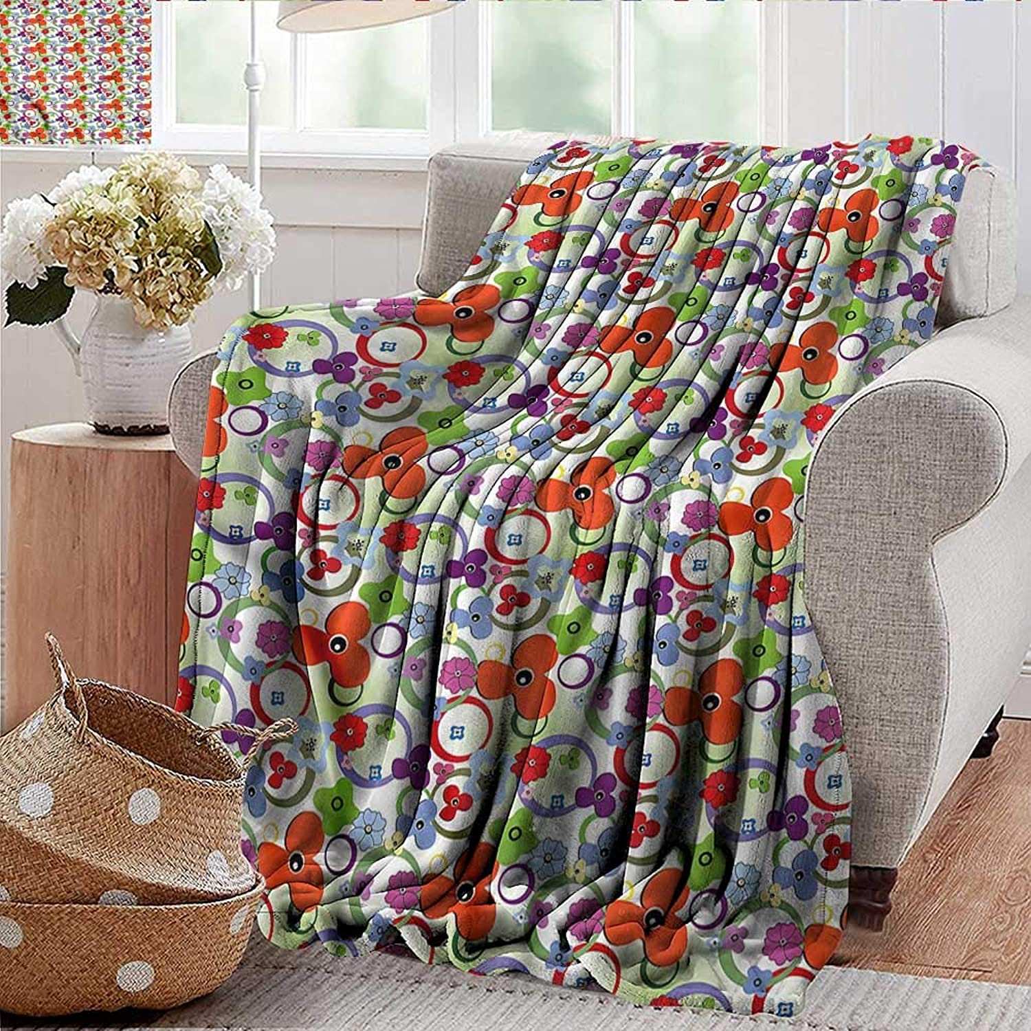 Xaviera Doherty Weighted Blanket for Kids colorful,Rainbow Toned Flowers Soft Summer Cooling Lightweight Bed Blanket 50 x60