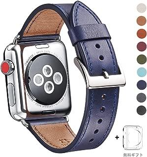 WFEAGL コンパチブル Apple Watch バンド,は本革レザーを使い、iWatch Series 5/4/3/2/1、Sport、Edition向けのバンド交換ストラップです コンパチブル アップルウォッチ バンド (38mm 40mm, ダークブルー バンド+シルバー 四角い バックル)