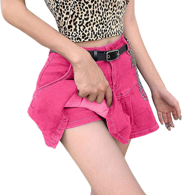 Lovor Women's Casual Slim A-line Pleated Ruffle Short Mini Denim Skirts