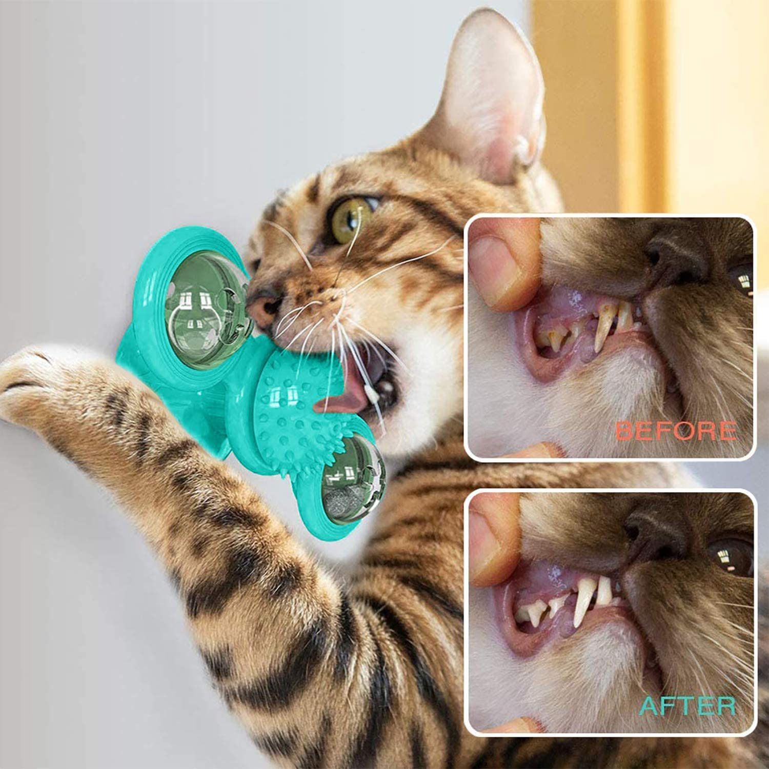 """MIZATTO 10""""Electric Flopping Cat Kicker Fish Toy and Windmill Cat Toy with Led Ball and Catnip Ball Interactive Toy for Cat Exercise Windmill Blue"""