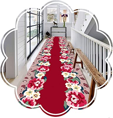 WX&QIANG Non Slip Rug Runner for Hallway Corridor Long Carpet Area Rugs Flower Pattern Customizable Stereoscopic Soft Modern Balcony Hotel Living Room Creativity, Fitness, Crawling for Kids