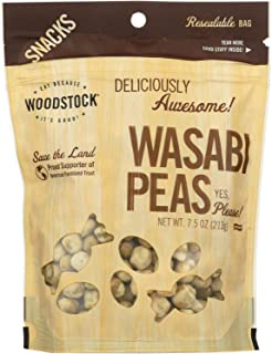 Woodstock Farms Wasabi Peas, Natural, 7.5-Ounce Bags (Pack of 8)