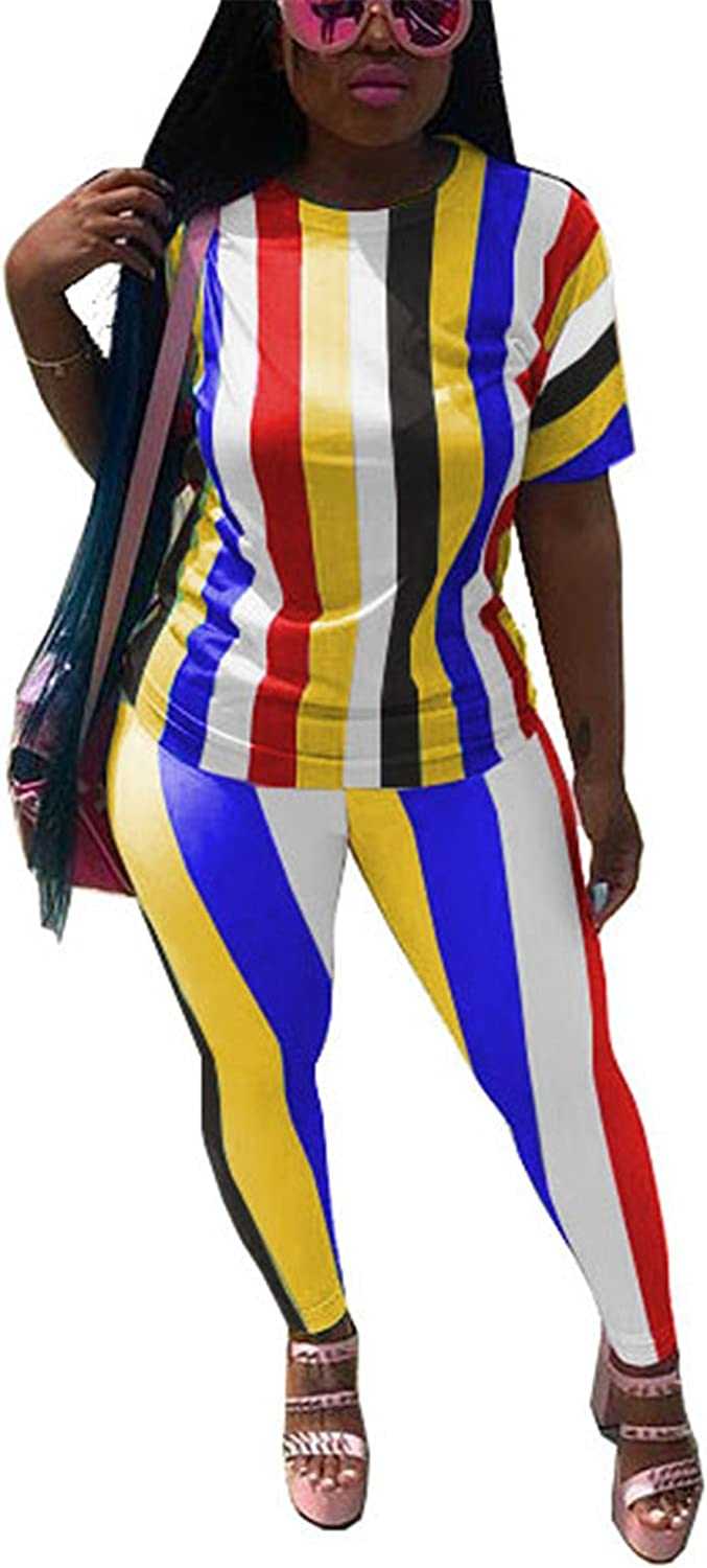 Antique Style Women Casual 2pcs Outfits Rainbow Stripe Top Shirts + Long Pants Set Club Dress