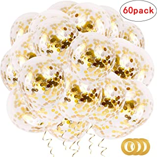 60pcs Gold Confetti Latex Party Balloons,12 Inch Latex Party Balloons with Golden Paper Confetti Dots for for Birthday Baby Shower Decoration