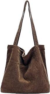 GOODFORALL Umhängetasche Damen Groß Handtasche Schultertasche Cord Retro Damen Crossbody Tasche Einkaufstasche(Kaffee)