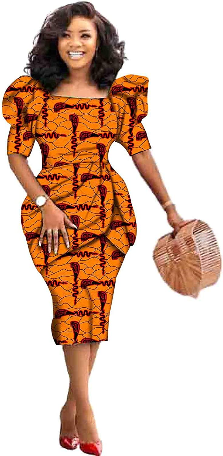 African Sexy Slim Dresses for Women Ankara Print Clothing Casual Dashiki Wear Floral Party Gown Wear