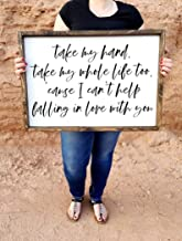 CELYCASY Take My Hand, take My Whole Life Too | Framed Wood Sign