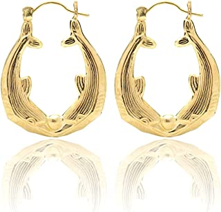18k Yellow Gold Green Enamel Dolphin Earrings with covered screwbacks 9mm