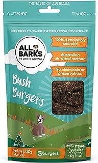ALL BARKS Bush Burgers- 5 Burgers - 100% Kangaroo Natural Australian Dog Treats - Snacks & Rewards