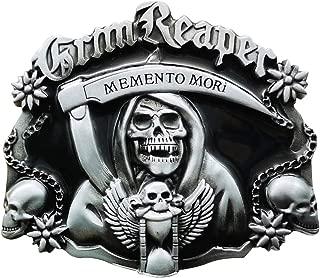 YOQUCOL Grm Reaper Belt Buckle Vintage Skull Skeleton Armed Sickle Belt Buckle For Men