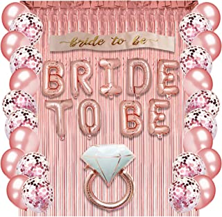 Rose Gold Bachelorette Party Supplies - Bridal Shower Decorations Rose Gold Balloons, Confetti Balloons & Foil Balloon - Bachelorette Party Favors Bride-to-Be Sash, Foil Curtain & Balloon Ribbon