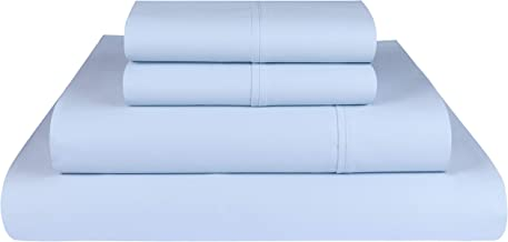 Threadmill Home Linen Bedding 800 Thread Count 100% ELS Cotton Solid Sateen Sheet Set, Luxury Bedding, 4 Piece Set, Bed Sheets, Smooth Sateen Weave, King, White Queen Blue THM-800-SLD-Blue-Q