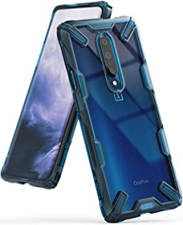 Ringke Fusion-X Designed for OnePlus 7 Pro Case Back Cover Transparent [Military Drop Tested Defense] PC Back TPU Bumper Impact Resistant Protection Shock Absorption Technology Cover - Space Blue