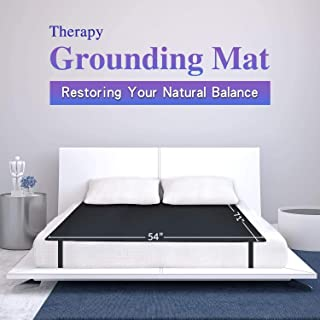 Grounding Mat, Grounding Sleep Mat 54''x 71' Perforated Design 100% Conductive Carbon Leatherette Grounding Mats, Fits for...