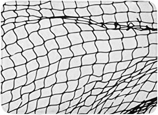 GTdgstdsc Doormats Bath Rugs Outdoor/Indoor Door Mat Goal Net Pattern Rope Silhouette Soccer Football Volleyball Tennis and Fisherman Hunting Fish Bathroom Decor Rug 16