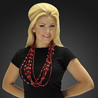 Set of 12 Red Heart Mardi Gras Bead Necklaces