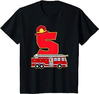 Bambino 5° Compleanno Fuoco 5 Anni Costume Da Vigile Del Fuoco Maglietta